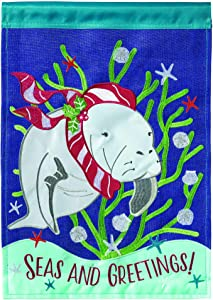 Magnolia Garden Manatee Seas and Greetings Sea Coral 13 x 18 Small Double Applique Outdoor Holiday House Flag
