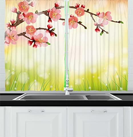 Ambesonne Japanese Kitchen Curtains Flowers Design Cherry Blossoms And Grass In The Morning In Nature Pattern Window Drapes 2 Panel Set For Kitchen Cafe Decor 55 X 39 Coral And Yellow