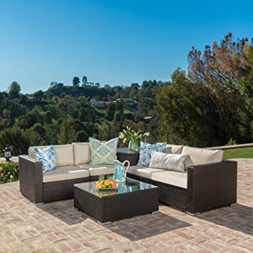 Amazon Com Isabel Outdoor Multibrown Wicker Sectional Sofa With