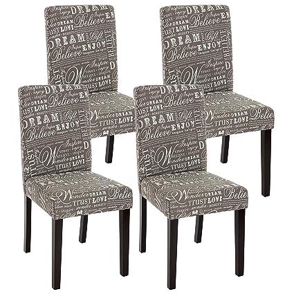 Set 4x sedie Littau tessuto per sala da pranzo 43x56x90cm ~ grigio ...