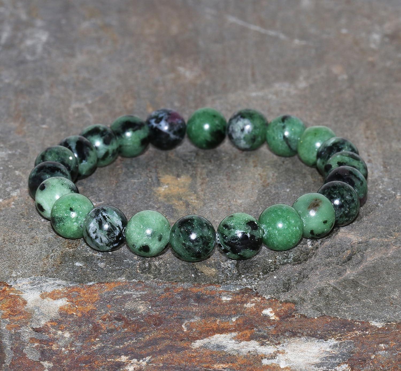 Brazalete Pulsera de piedra preciosa Zoisita con Rubí de 8 mm variedad Anyolita hecho a mano pulsera de cuentas de piedras preciosas verdes Pulsera de Zoisita con Rubíes