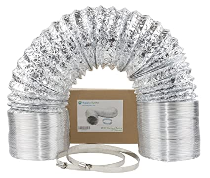 15 cm (6 inch) x 7 62 meter (25 feet) HVAC Flex Duct Non-Insulated Venting  Hose with 2 Worm Gear Clamps for Grow Room and Greenhouse
