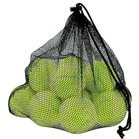 Philonext 12 PCS pelotas de tenis con bolsa de malla de transporte, bolas de tenis sin presión bolas de práctica jugando con mascotas deportes bolas ...