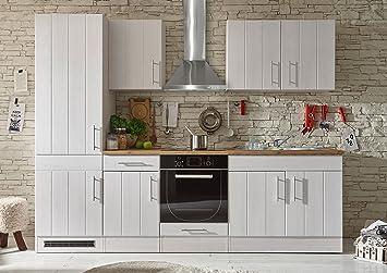 Küche 260 Cm Mit Elektrogeräten | Kuche Landhaus Kuchenblock Kuchenzeile Komplettkuche 260cm