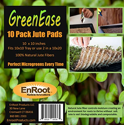 GreenEase Jute Microgreen Hydroponic Grow Pads - 10 Pack- Fits 10x10  standard nursery tray  Grow nutritious Organic Microgreens, Wheat grass,  Plant &