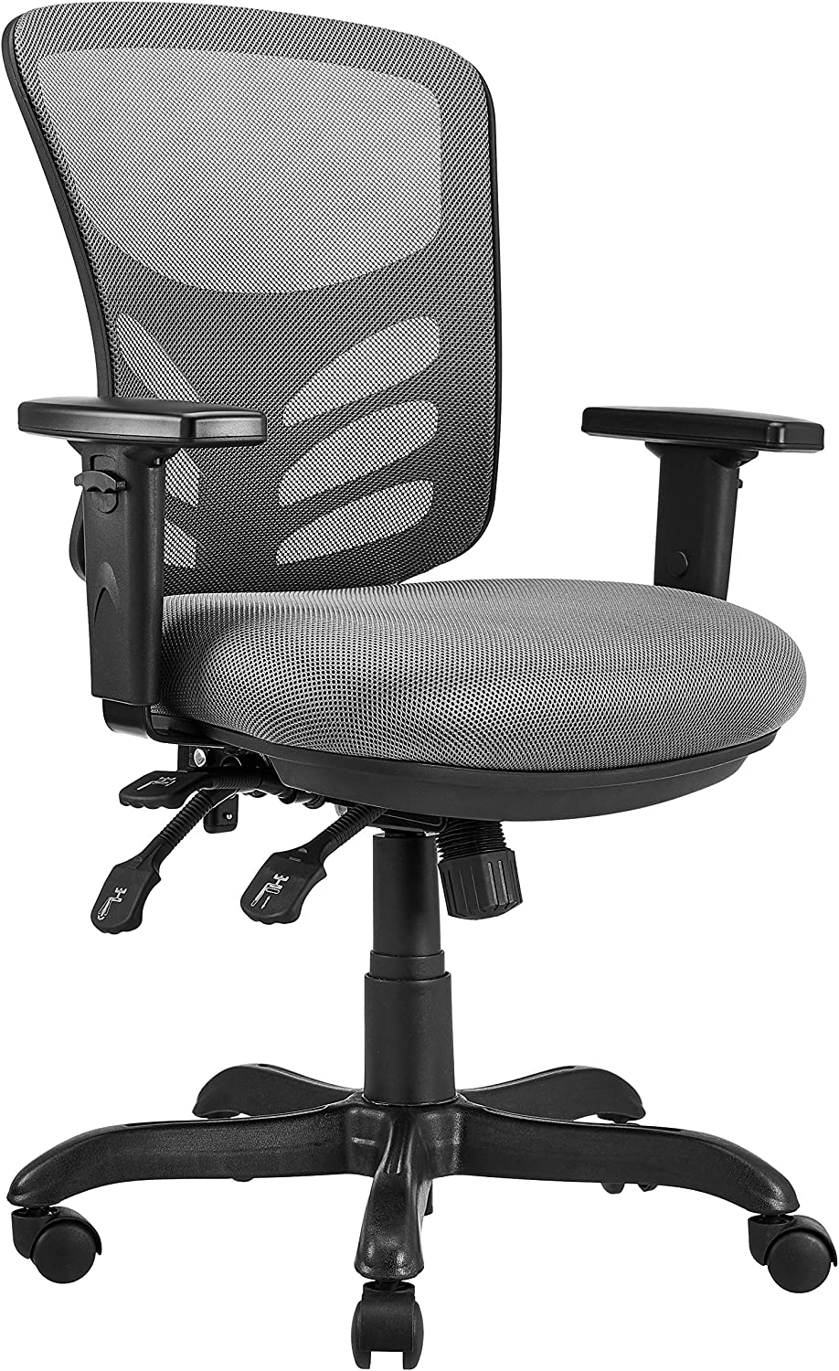 AmazonCommercial Ergonomic Mid-Back Mesh Desk/Computer Chair with Adjustable Seat, Armrests, and Lumbar Support - Grey