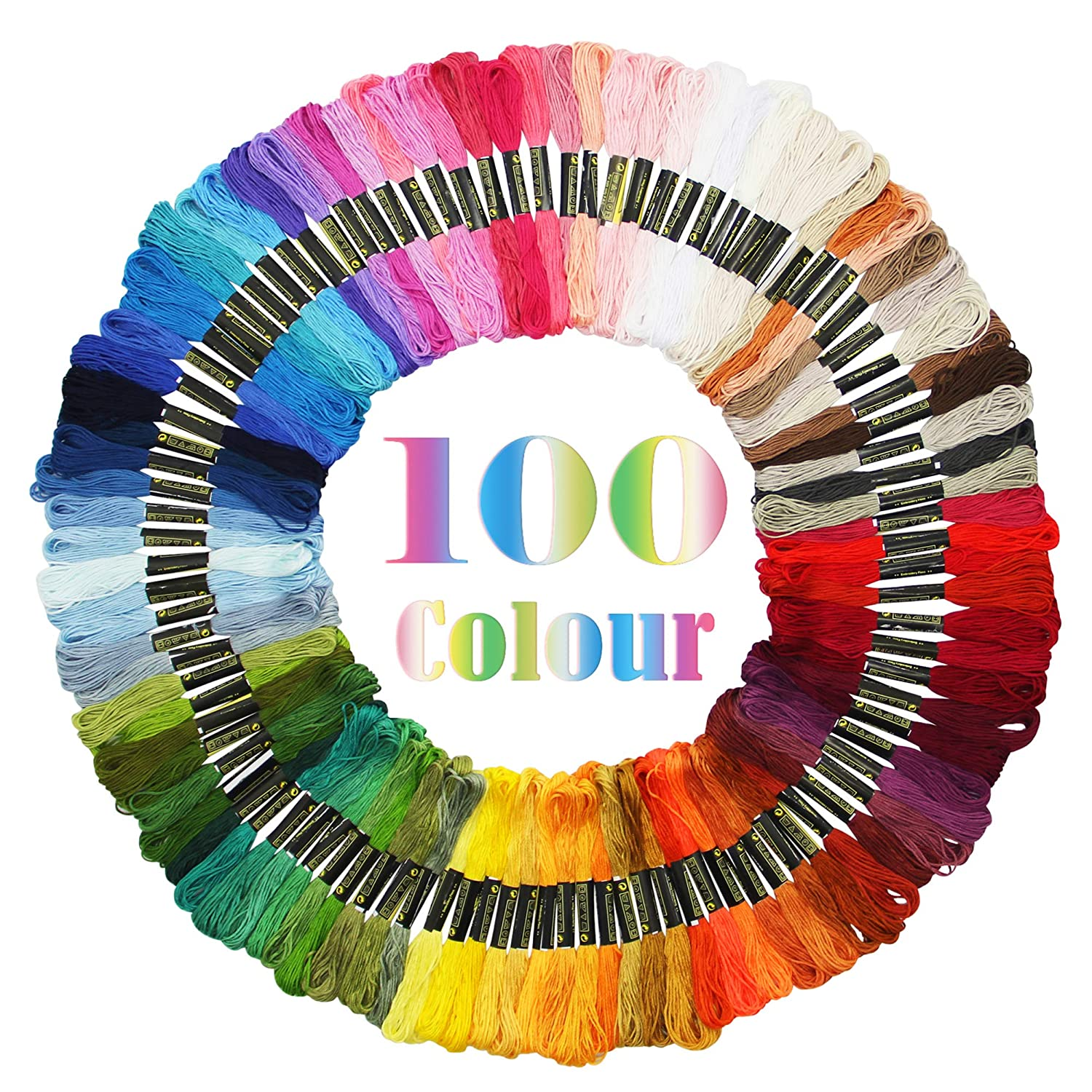 Maggift Rainbow Color Embroidery Thread,Cross Stitch Threads, Bracelets Floss, Crafts Floss, 100 Skeins 4336932229