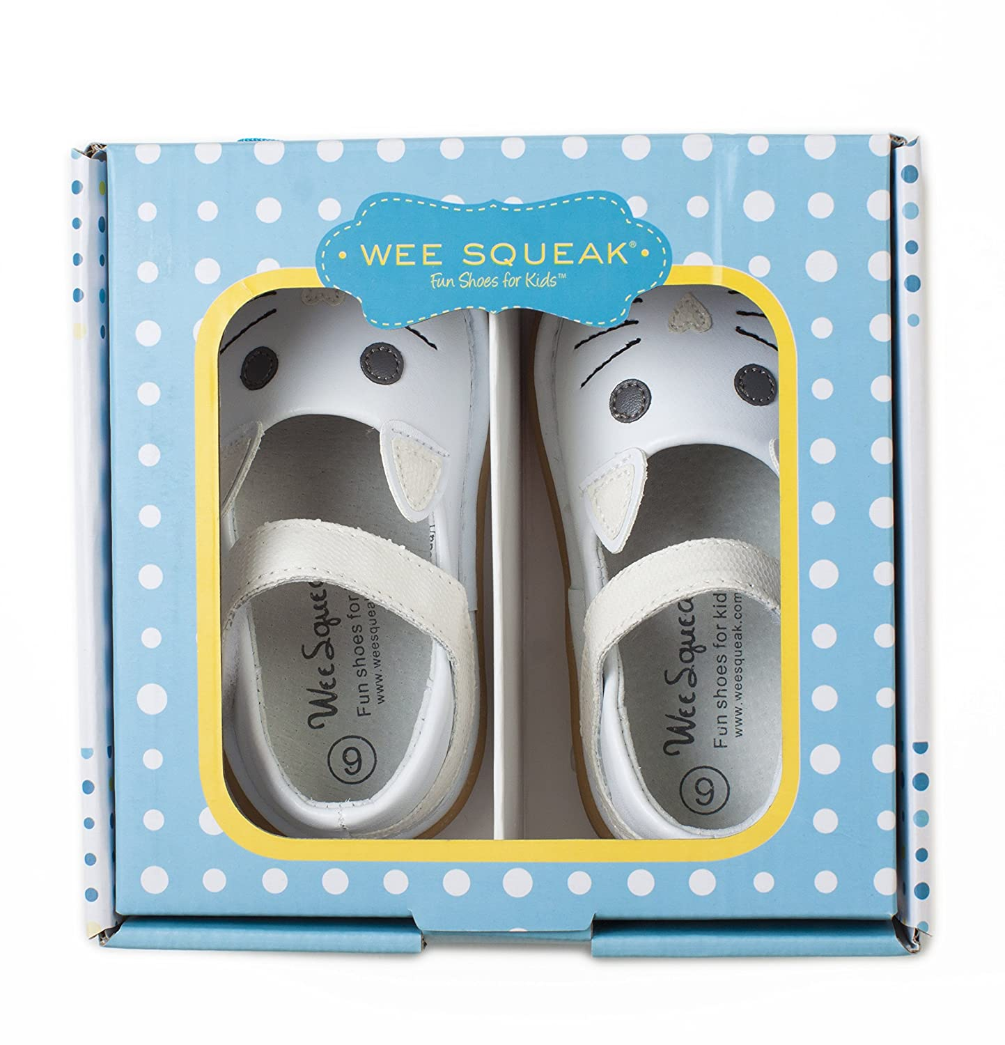 Wee Squeak Kitty Cat White Mary Jane Toddler Squeaky Shoe