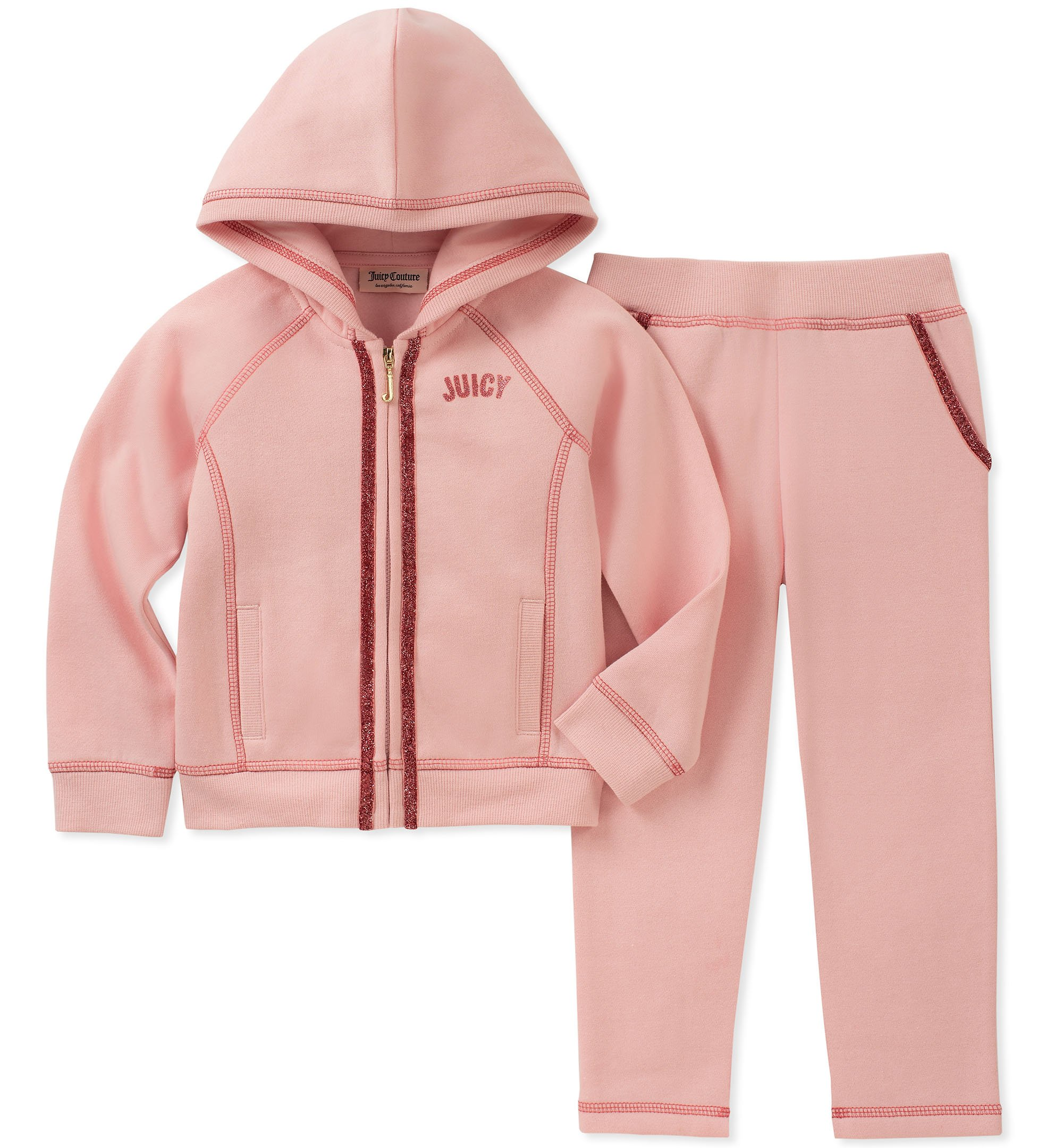 Juicy Couture Girls' Toddler 2 Pieces Jog Set, Pink, 3T