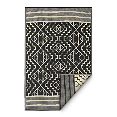 Fab Habitat Reversible Rugs | Indoor or Outdoor Use | Stain Resistant, Easy to Clean Weather Resistant Floor Mats | Kilimanjaro - Black, 5' x 8'