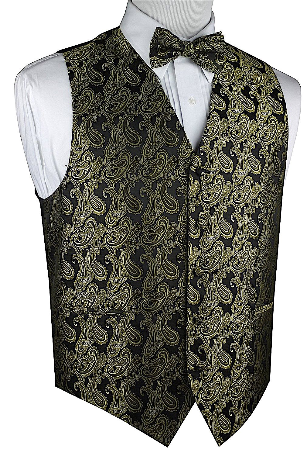 Brand Q Men's Paisley Vest Bow Tie Set-Olive Green-3XL