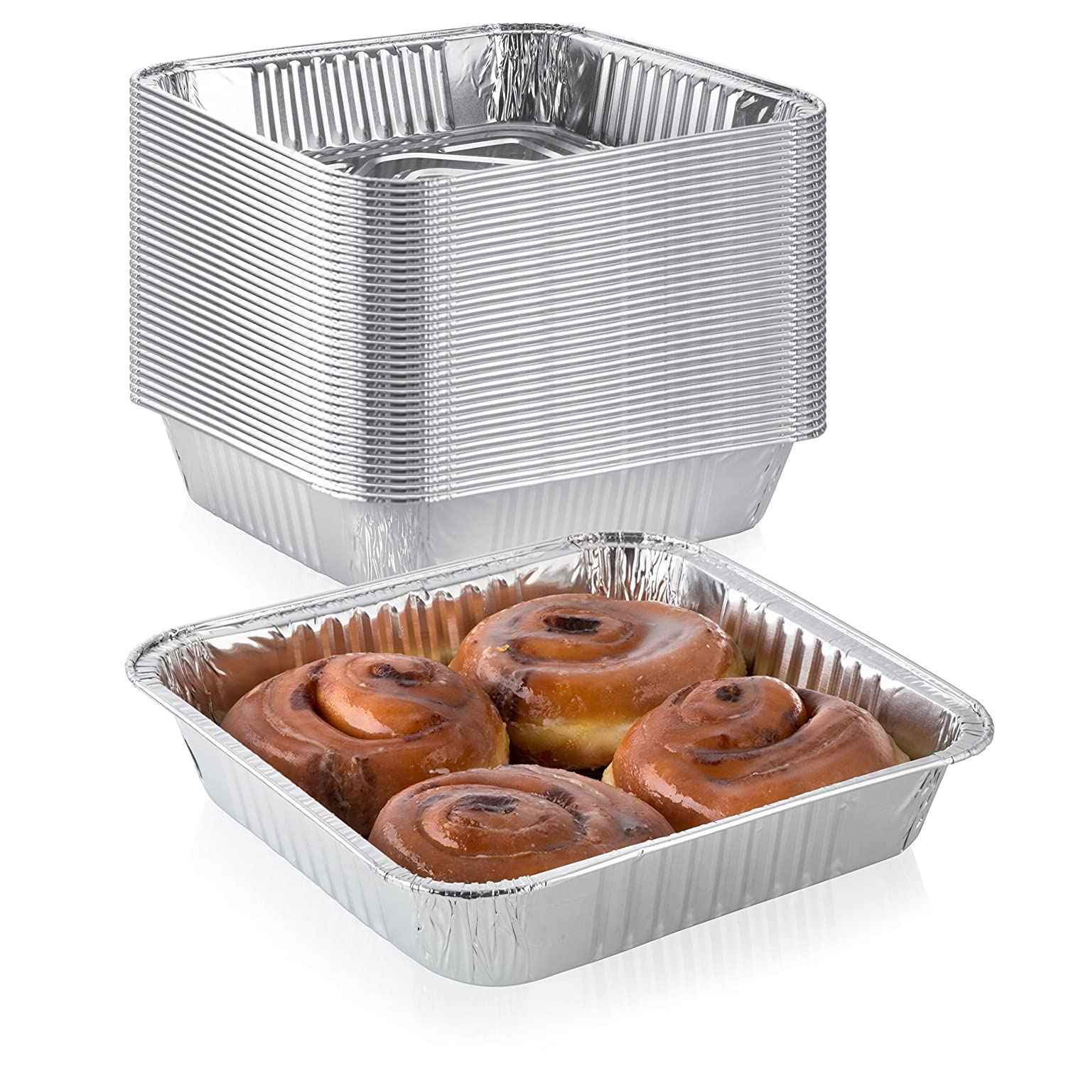 "Pack of 20 Extra-Thick Disposable Aluminum Baking Pans | Standard Size 8"" x 8"" Recyclable Square Cooking Tins 