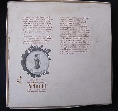 Never Used 1972 Angel Christmas Plate  Sister Berta Hummel Collector Series  In Original Box