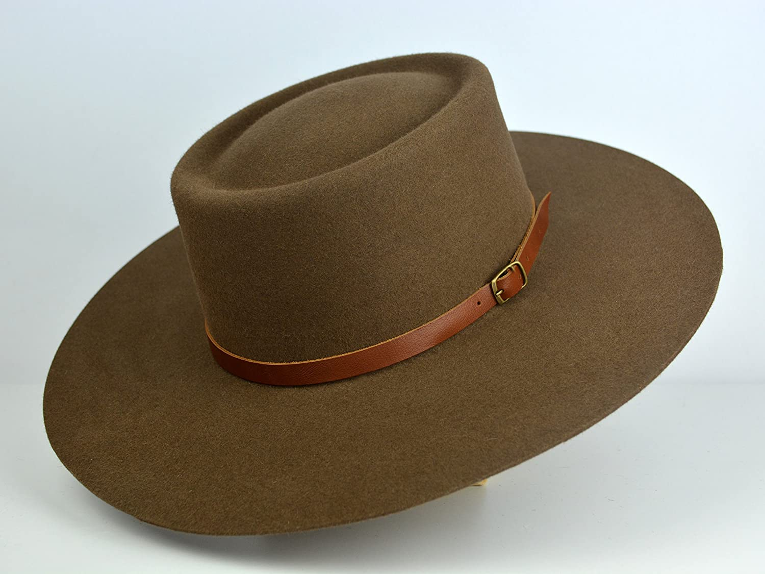 The Mojave - Coffee Brown Rabbit Fur Felt Vaquero Crown Bolero Hat - Extra-wide Brim - Men Women