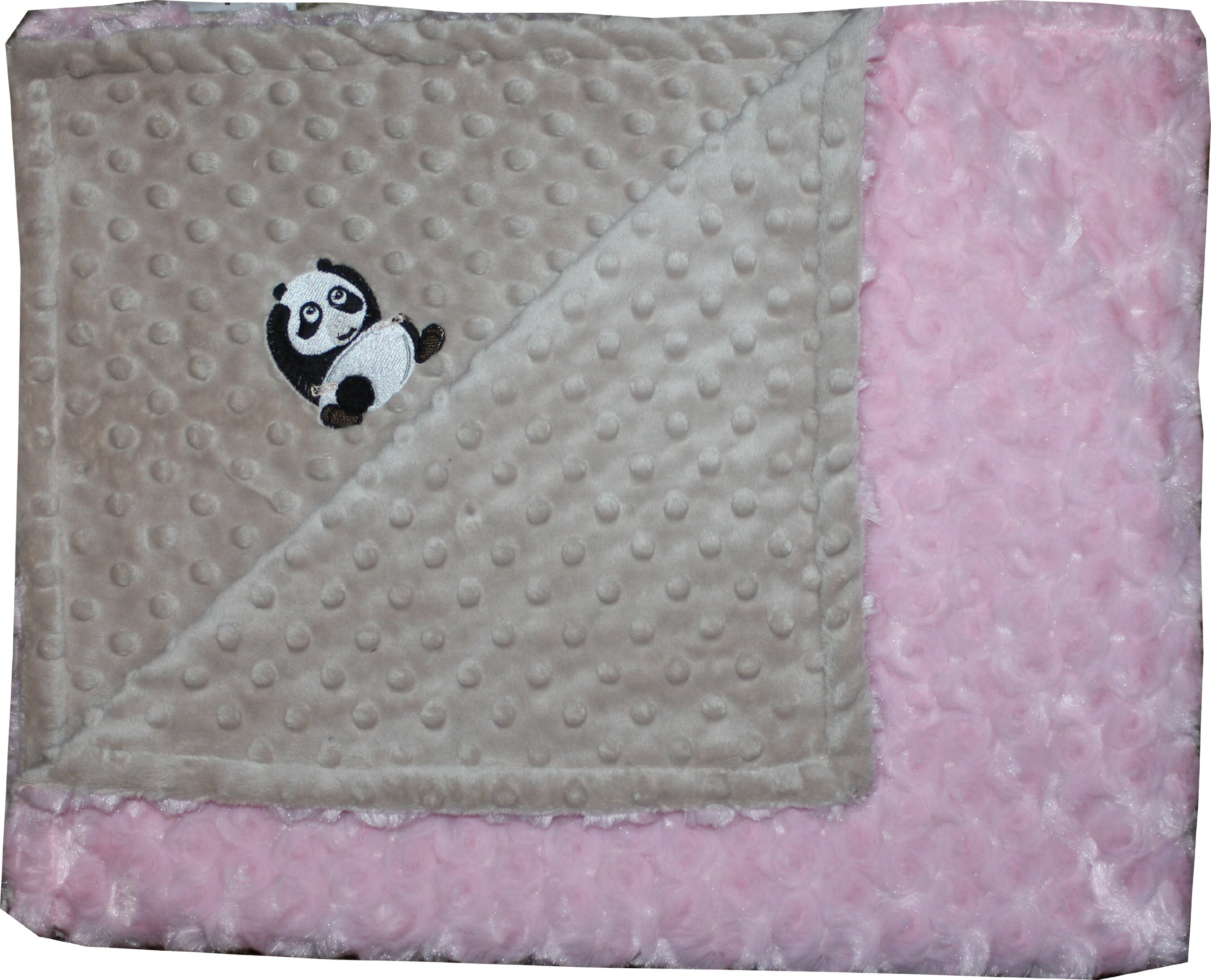 Lil' Cub Hub Minky Blanket, Mocha Dot/Pink Rosebud, Panda
