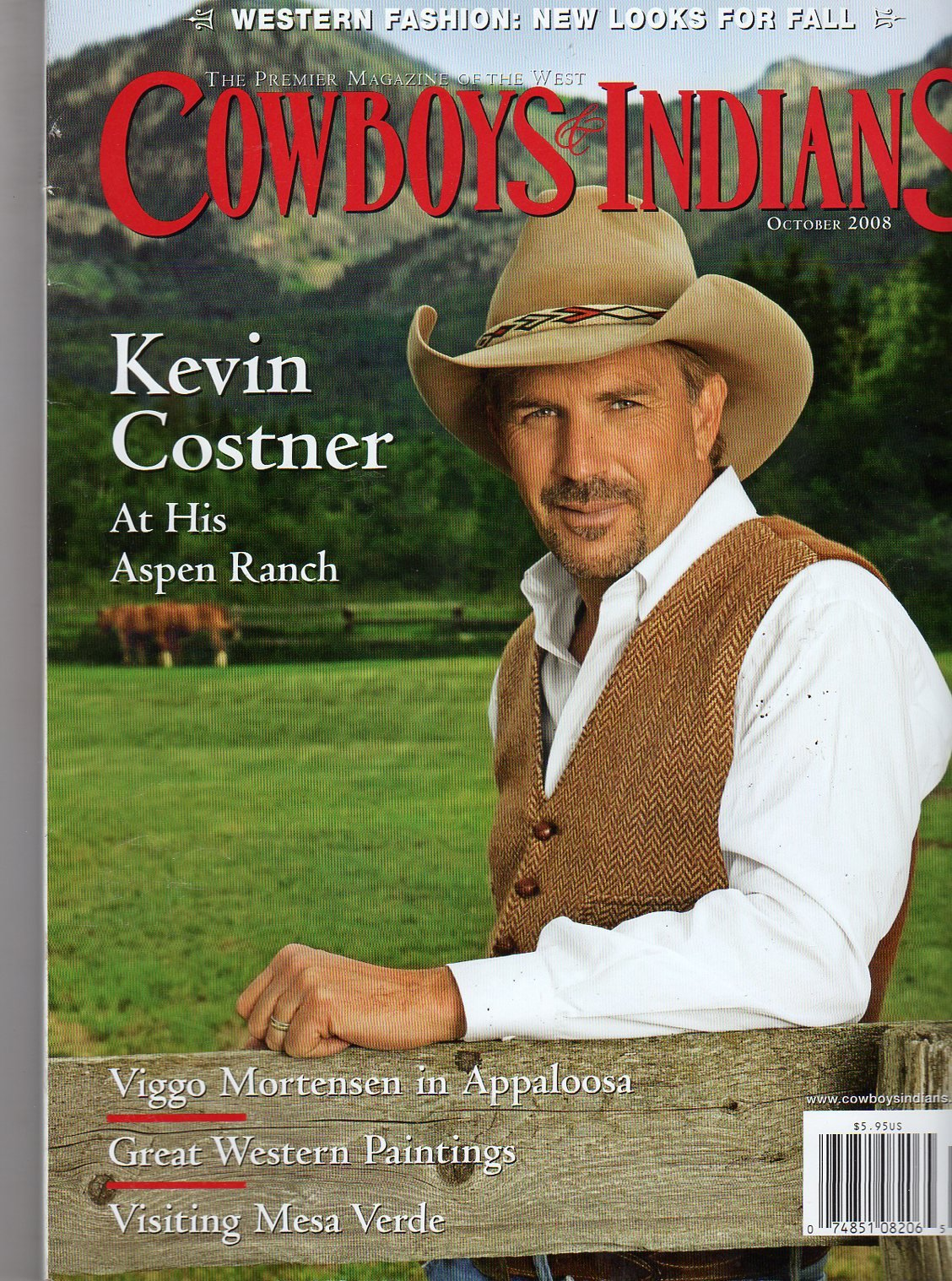 Read Online Cowboys and Indians October 2008 (KEVIN COSTNER AT HIS ASPEN RANCH) pdf epub