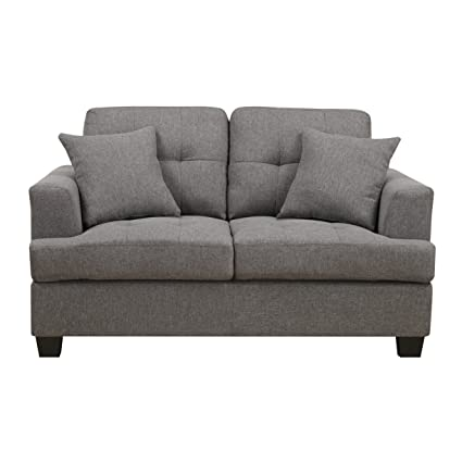 Emerald Home Clearview Gray Loveseat, With Pillows, Tufted Cushions, Block  Legs, And