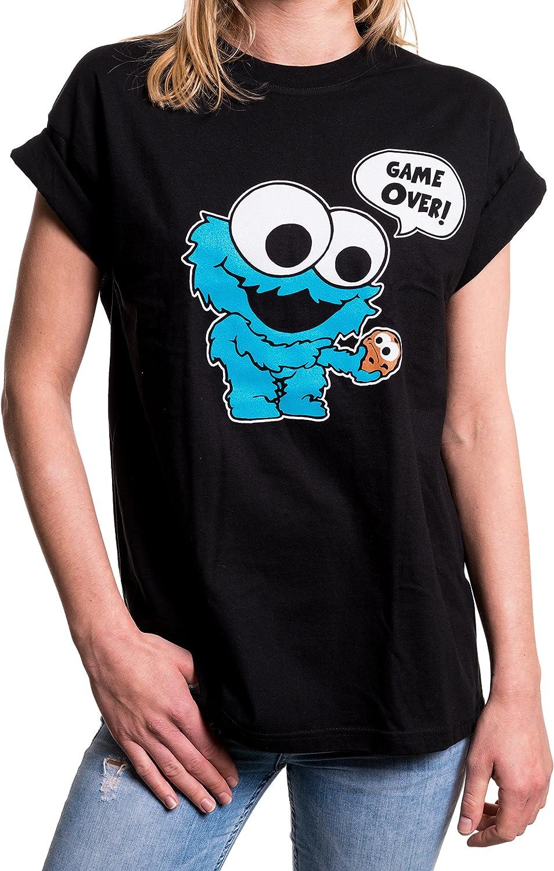 MAKAYA Top Monstruo Baby Manga Corta Talla Grande - Galletas - Camiseta Friki Divertida para Mujer: Amazon.es: Ropa y accesorios