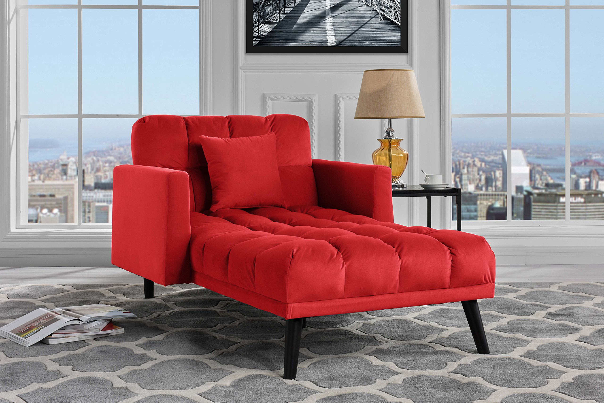 Sofamania Modern Velvet Fabric Recliner Sleeper Chaise Lounge - Futon Sleeper Single Seater with Nailhead Trim (Red) by Sofamania