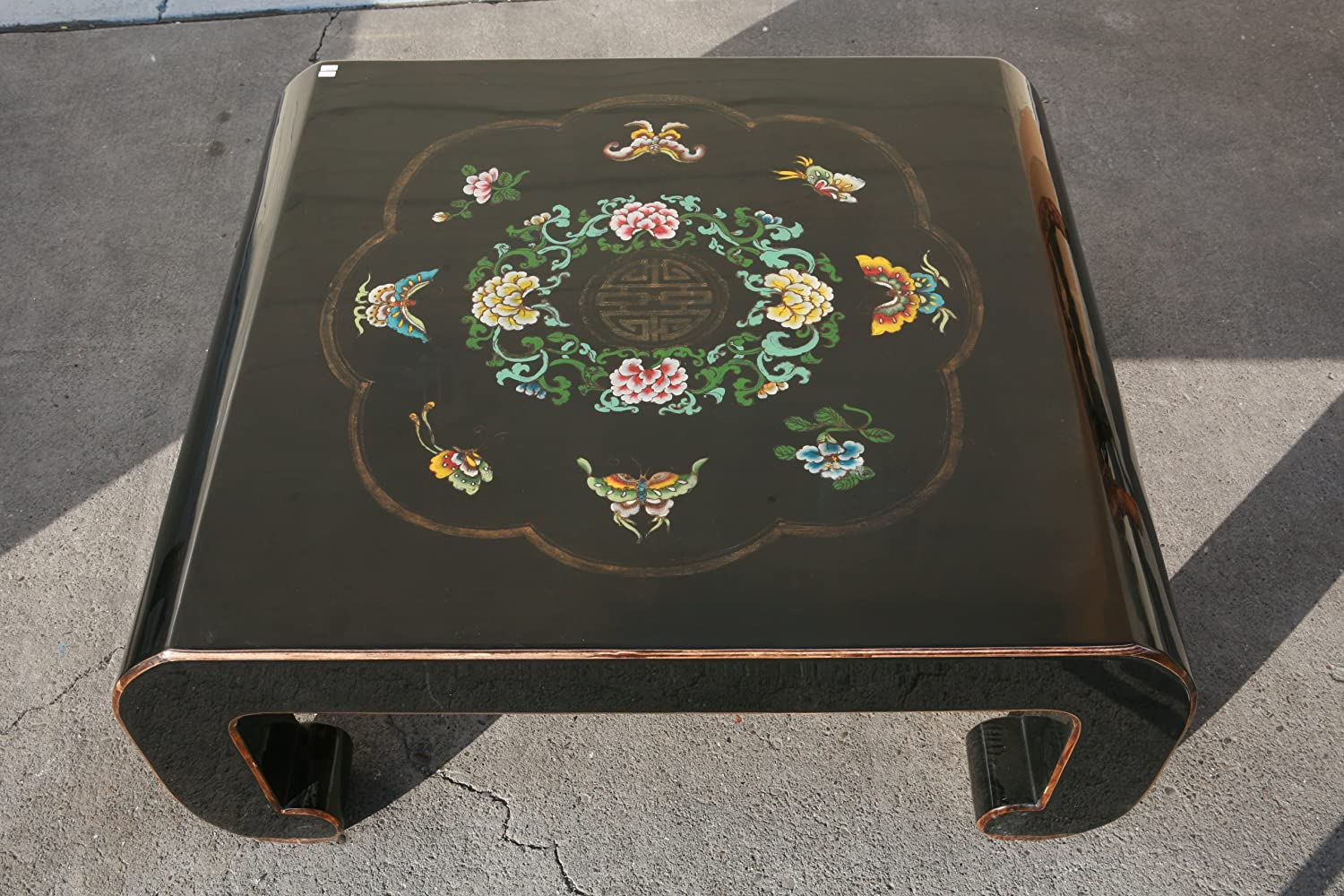 Black Piano Painted Lacquer Floral Coffee Table Ay528
