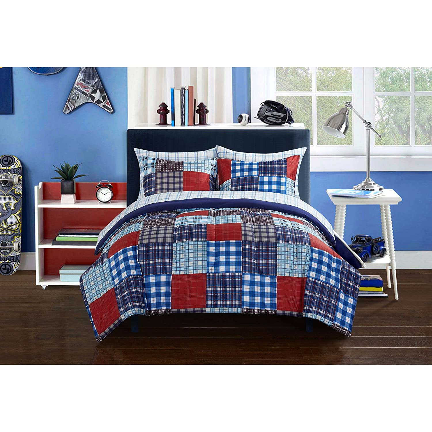 Mainstays Kids Plaid Blue Patch Reversible White Bedding Full Comforter Set for Boys 7 Piece in a Bag