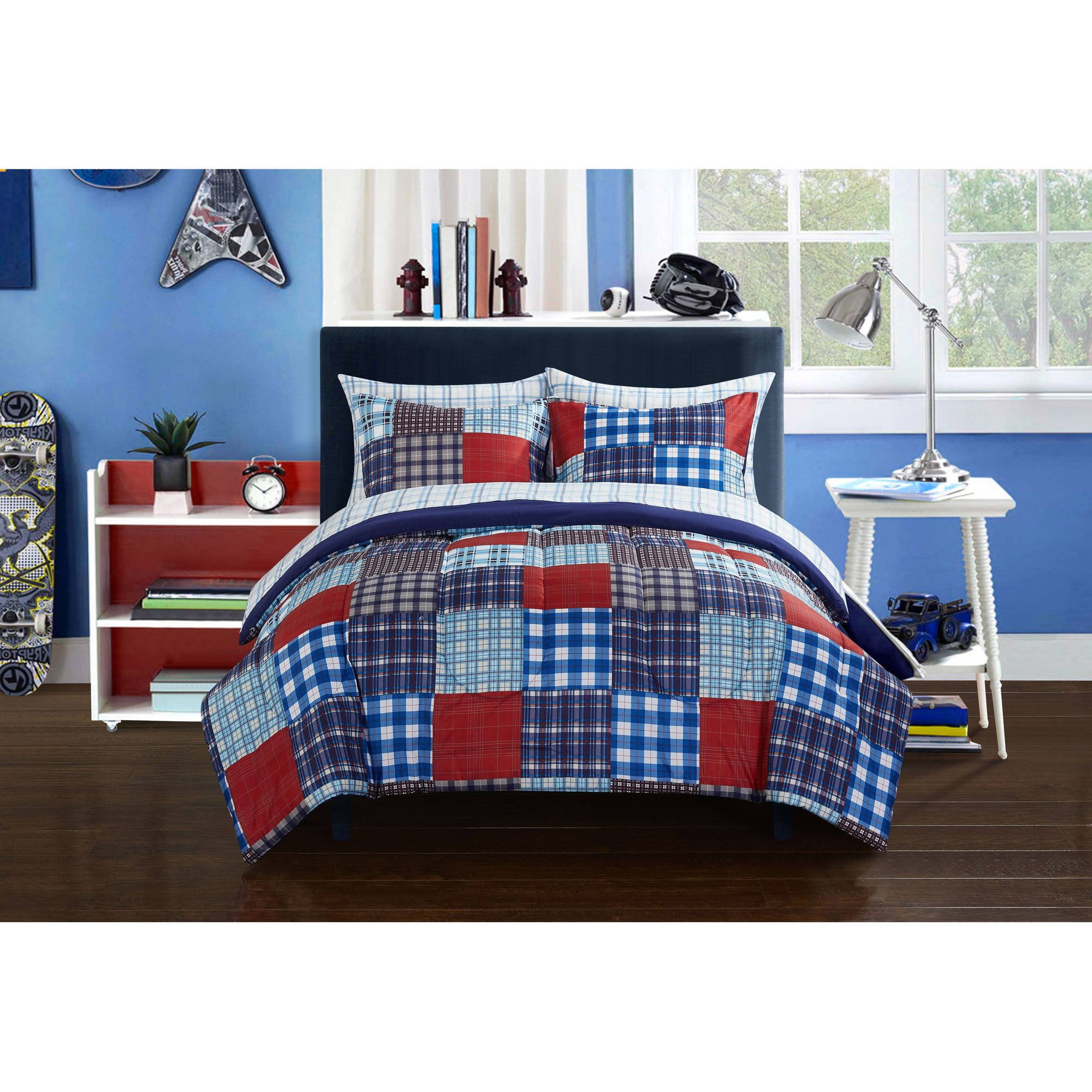Trendy, Durable and Reversible Mainstays Kids Mad Plaid Blue Bed in a Bag Bedding Set, Twin