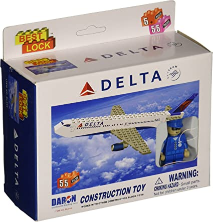 BEST LOCK ALASKA AIRLINES AIRPLANE CONSTRUCTION TOY 55 PIECE BRICK TOY W//FIGURE