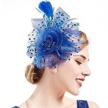 BABEYOND Women s Fascinators Hat Mesh Feather Fascinator Flower Hair Clip  Veil Derby Hat Bridal 1920s Headpiece 179858946c2