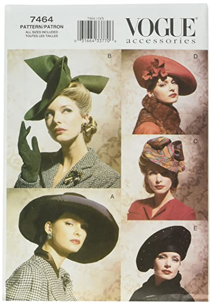 7143373c69c Image Unavailable. Image not available for. Color  Vogue Patterns V7464 Vintage  Hats
