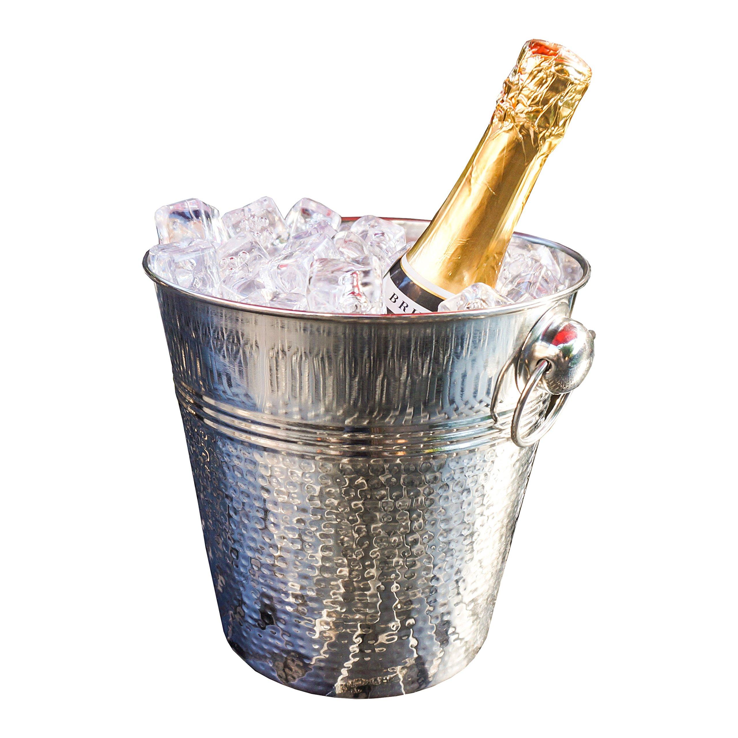 BREKX Napoli Hammered Stainless Steel Luxury Wine Ice Bucket