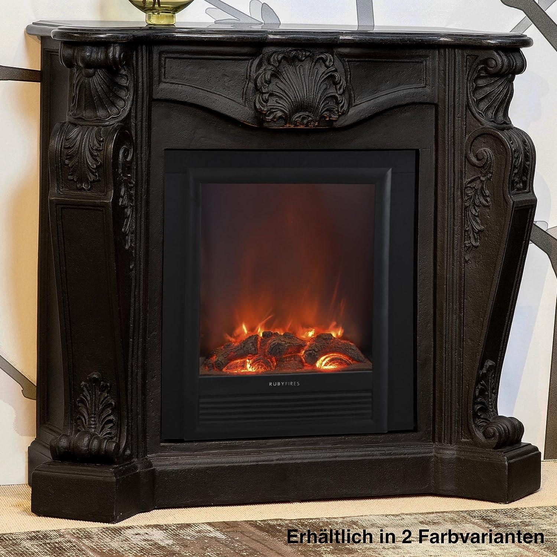 Rubyfires Elektrokamin Kaminfeuer Kaminumbau Kamin Louis inkl Top Flame Elski creme weiß