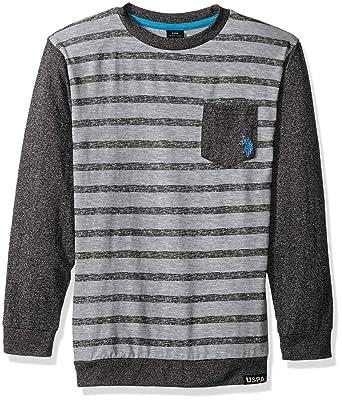 666d609f Amazon.com: U.S. Polo Assn. Boys' Long Sleeve Striped Crew Neck T ...