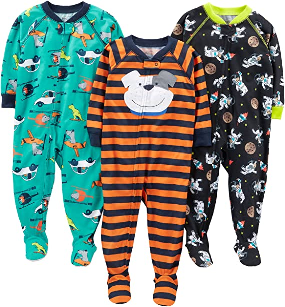 Zip-Front Non-Slip Footed Sleeper Pjs YAAY Baby Baby Unisex Pajamas Dinosaur Print Long Sleeve Footed Jumpsuit.0-18M