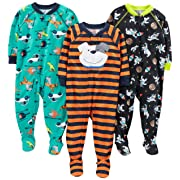Simple Joys by Carter's Toddler Boys' 3-Pack Loose Fit, Light Weight Polyester Footed Pajamas, Space/Dog/Vehicles, 3T