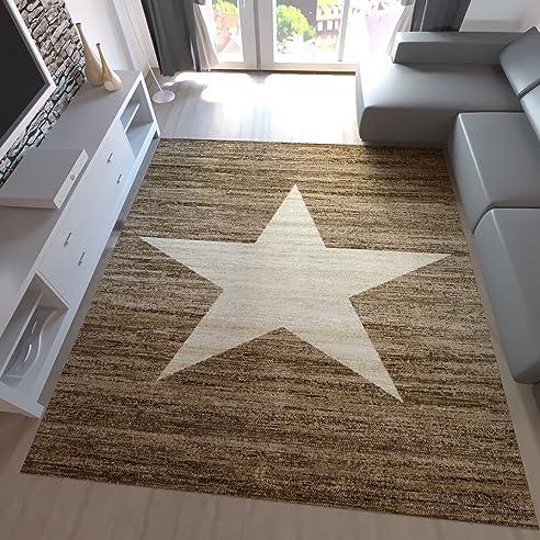 Jugend Teppich Wohnzimmer Stern Muster Meliert Rot Schwarz Beige - Wohnzimmer beige grau