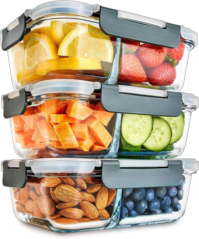 Contenedores De Vidrio Para Comida Con 2 Compartimientos De Tapa Transparente Con Respiraderos Para Vapores - Libres De BPA - Aptos Para Microondas, Congelador, Horno y Lavavajillas - Pack de 3