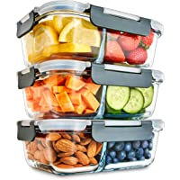 Igluu Meal Prep Glass 2 Compartment Container with Airtight SnapLock Lids - Portion Control Food Storage - BPA Free…