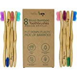 Bamboo Toothbrush - Pack of 8 Biodegradable Tooth Brush Set - Organic Eco-Friendly Moso Bamboo with Ergonomic Handles & Medium BPA Free Nylon Bristles | By HELLO BOO
