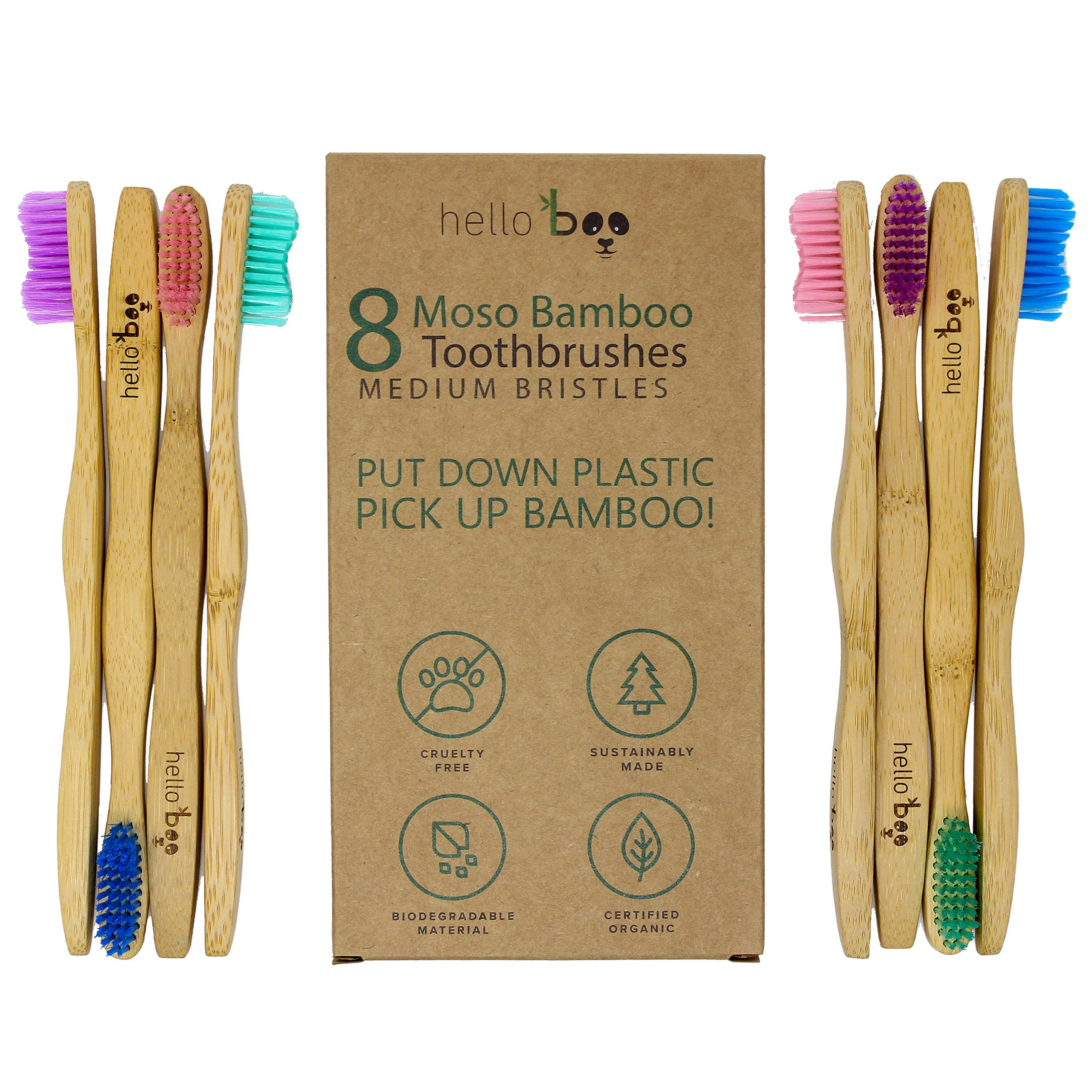Bamboo Toothbrush - Pack of 8 Biodegradable Tooth Brush Set - Organic Eco-Friendly Moso Bamboo with Ergonomic Handles & Medium BPA Free Nylon Bristles | by Hello Boo (Adults)