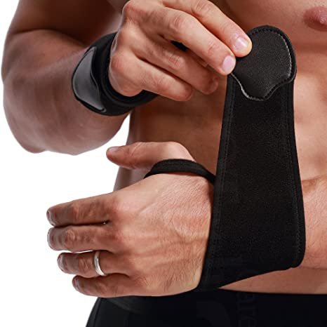 Muñequera ancha de sujeción - Ligera, elástica y transpirable - Para aliviar los músculos - Compresión ajustable - Marca Neotech Care - Paquete de 1 unidad ...