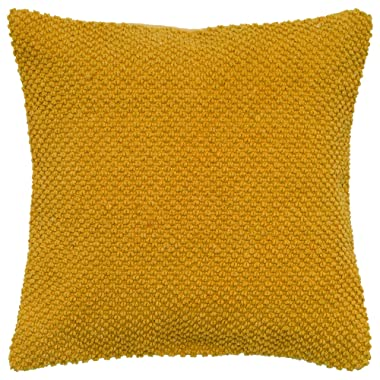 Rizzy Home T05279 Decorative Solid Poly Filled Throw Pillow 20  x 20  Yellow