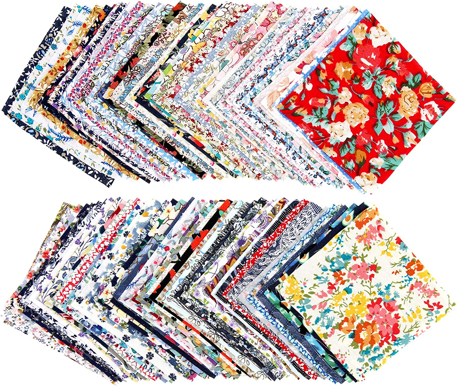 100 Pieces Patchwork Printed Floral Assorted Color Cotton Craft Fabric Bundle Squares Precut Fabric Sheets Patchwork Fabric Sets for DIY Sewing Scrapbooking Quilting (3.9 x 3.9 Inch/10 x 10 cm)