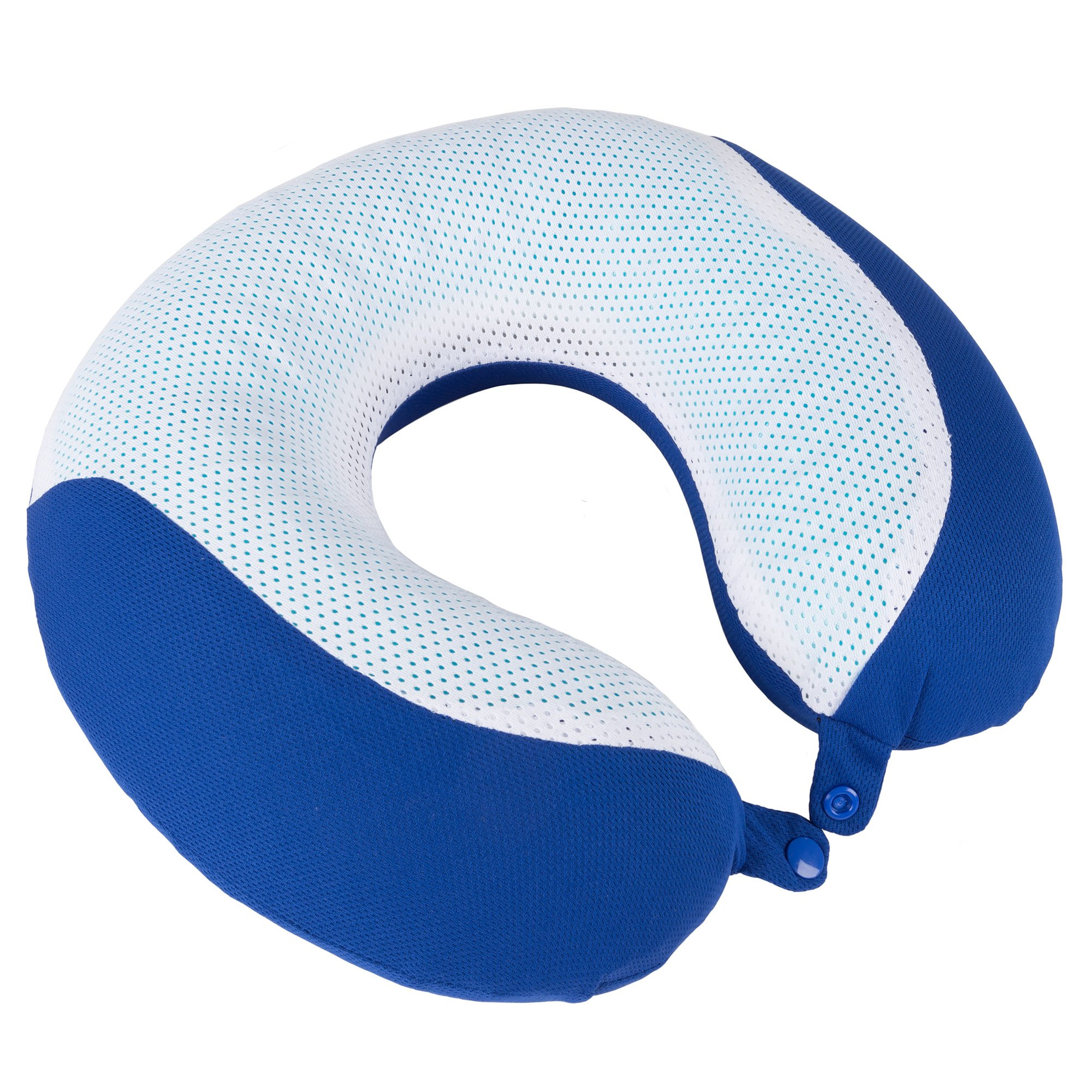 Memory Foam Travel Pillow- With Gel That Cools for Head/Neck Support with Pillowcase for Sleeping, Traveling, Airplanes, Trains by Lavish Home (Blue)