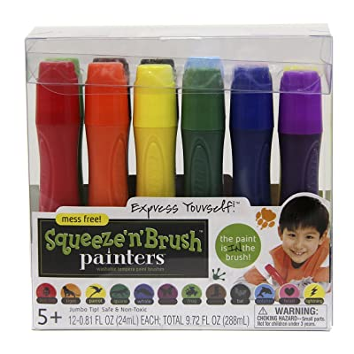 Elmer's Painters Squeeze 'n Brush Washable Tempera Paint Brushes, Assorted Colors, 12 Count (E114): Office Products