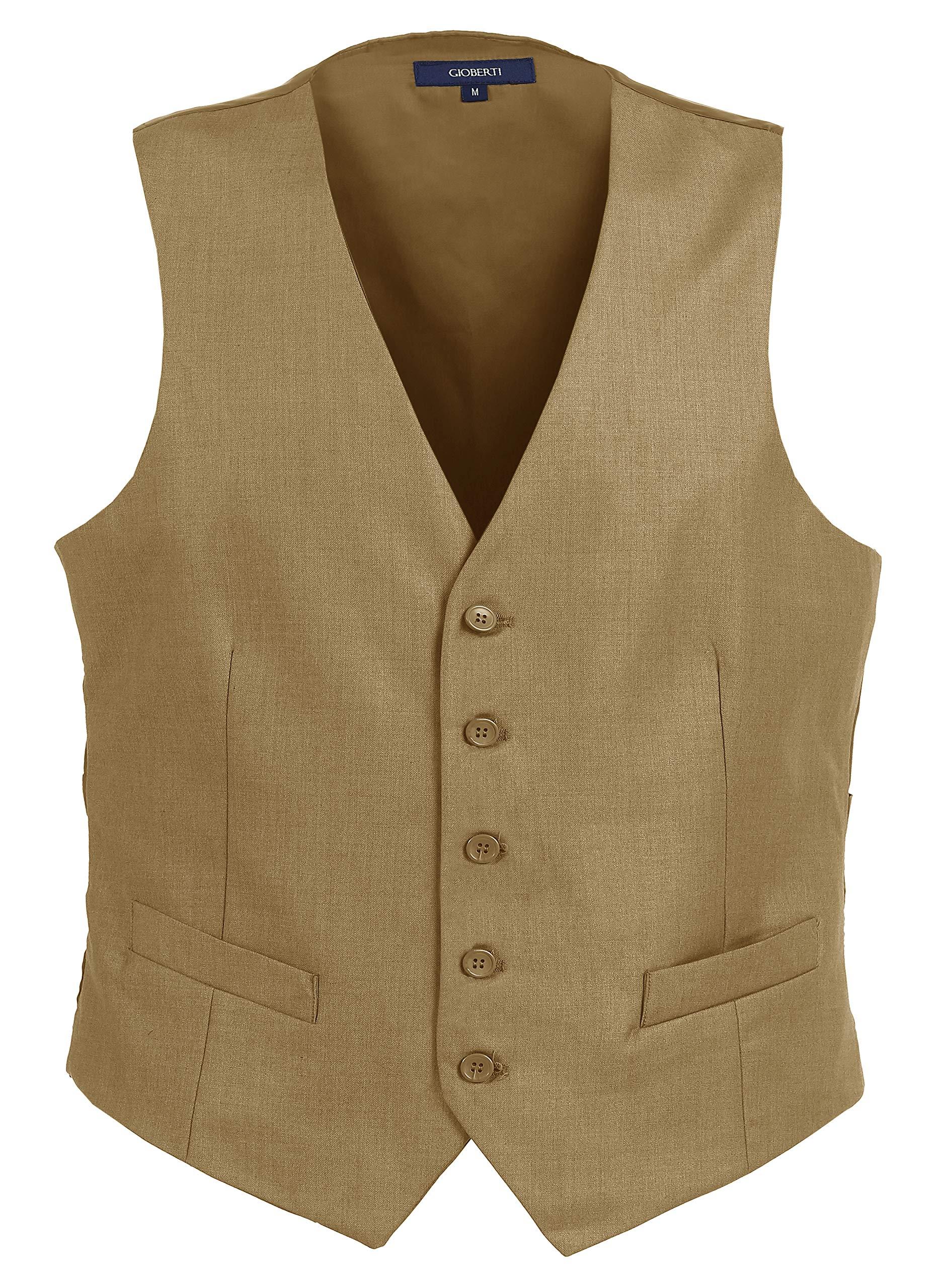 Gioberti Mens Formal Suit Vest, Khaki, 2X-Large by Gioberti