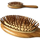 Natural Bamboo Detangling Hair Brush For All Hair Types,Hair Detangler, Improve Hair Growth, Prevent Hair Loss, Dandruff Scalp, Bamboo Bristles Pin Massage Scalp For Healthy Hair. Wet/Dry