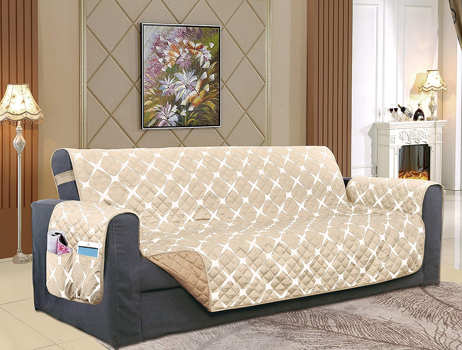 Elegant Comfort Luxury Bloomingdale Pattern Reversible 2-Tones Quilted Furniture Protector Slipcover, Featured Smart Pockets and Elastic Straps, Pets and Kids Protection, Oversized Sofa, Cream/Taupe