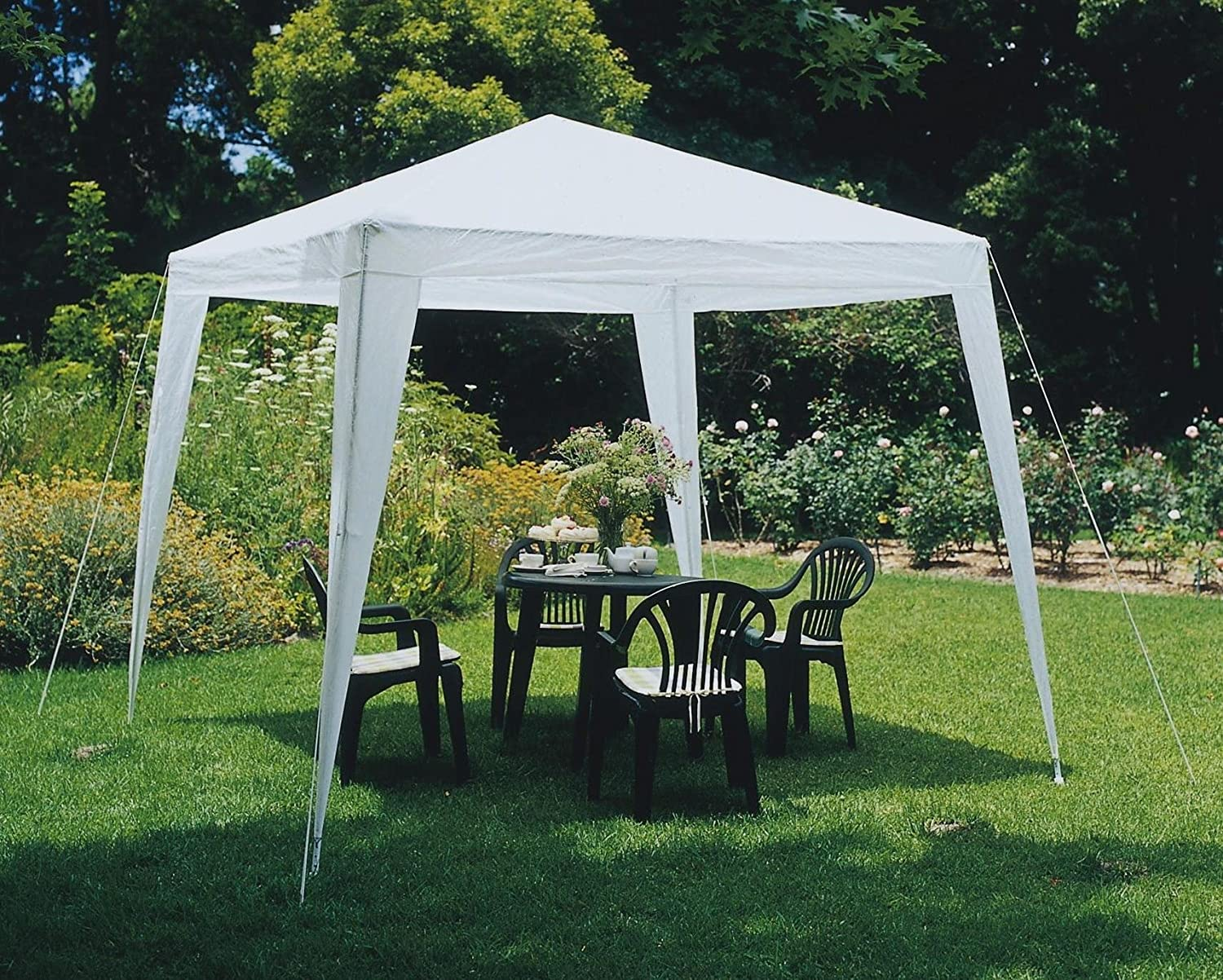White Slimbridge Wakehurst 3 x 3 Metres Fully Waterproof Gazebo Tent Marquee Awning Canopy without Side Panels with Powder Coated Steel Frame for Outdoor Wedding Garden Party