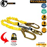 KwikSafety PYTHON | Double Leg 6ft Tubular Stretch Safety Lanyard | OSHA Approved ANSI Compliant Fall Protection | EXTERNAL Shock Absorber | Construction Arborist Roofing | Snap & Rebar Hook Connector