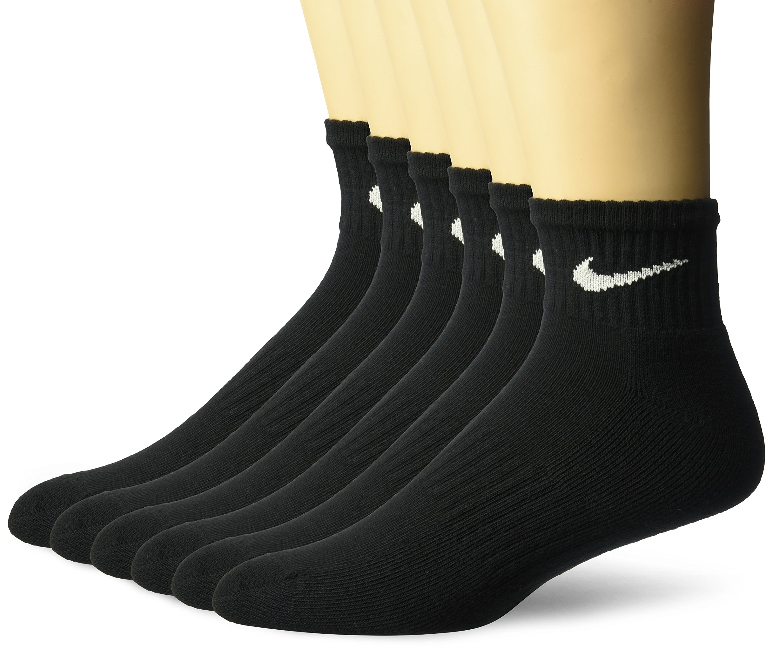 NIKE Unisex Performance Cushion Quarter Socks with Band (6 Pairs), Black/White, Large